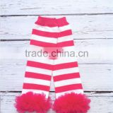 Hot Pink Baby Girls Stripes Pattern Leg Warmers With Chiffon Ruffle Baby Legging Clothing