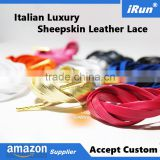 Ultra Premium Genuine Sheepskin Leather Shoes Laces - Lambskin Leather Shoelace w/Gold Aglet Tips - Accept Custom All Sizes