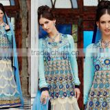Blue shaded color on Blue embroidery heavy design all over long Anarkali Designer Semi Stitch Salwar Kameez