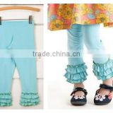 hot sale kids wear girls ruffle pants for young girls light blue pants China supplier cotton pants