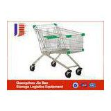 Stackable 125L Push Supermarket Shopping Carts / Trolleys With 4\