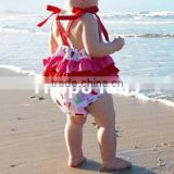 New fashion baby girl ruffled romper designer clothing manufacturer in China infant knot floral rompers