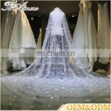 China custom wholesale flowers beading long bridal veils wedding bridal veils