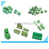 Green color PA66 2 pin 3 pin PCB double row right angle screw terminal block plug type 3.5mm 3.81mm 5.0mm 5.08mm pitch