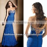 Hot Sale Strapless Tiered Skirt Beaded Bodice Long Mermaid Chiffon Evening Dress