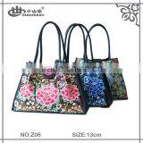 Newest Promtion Vintage Style Lady Canvas Tote Bag with PU Leather Flower tribal Handbag