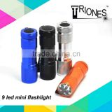 (160246) AAA battery colorful emergency promotional mini cheap aluminum 9 led flashlight