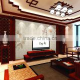 Back print home decoration glass mirror for wall, European style mirror TV wall tempered glass