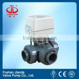 12V electric actuator pvc 3 way ball valve