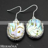 925 Sterling Silver Natural Top Fashion Oval Abalone Shell Hoop Earrings For Women AE0028