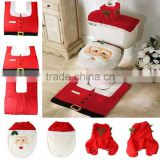 2015 Santa Toilet Seat Cover and Rug Bathroom Set Christmas Decoration