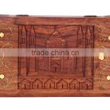 Store Indya Wooden Jewelry Trinket Box Organizer Keepsake Storage Chest with Hand Carved Wonder Taj Mahal Design