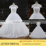 Latest Design Boat Neck Sleeveless Appliqued Lace Strap Ruffled Body Wedding Dress Ball Gown