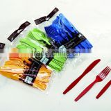 colorful Disposable biodegradable PS plastic cutlery set spoon knife fork,plastc picnic sets