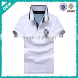 qood quality men high neck plain white color polo shirt for men with badge embroidery (lyt080002)