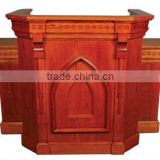 Wing Pulpit,Birch wooden church edge carved cherry PulPit with shelf / Cherry church furniture / church Wing Pulpit