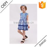 2016 European Fashion children frocks designs Chinese style Blue-and-White floral printed layered A-line girls party dresses