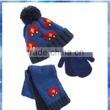 car jacquard winter hat scarf gloves for young boys