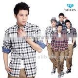 European style latest brand design 100% cotton long sleeve carbon peaching plaid fashion flannel casual shirts for men