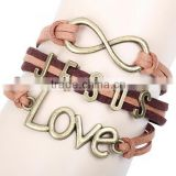 2014 Fashion Love JESUS Letters Charm Handmade Braided Leather Bracelet/vintage old Bronze Genuine cow leather bangles wholesale