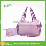 Purple lining baby boy diaper bags with belt Tote Nappy Bags with stroller webbing china factory diaper bags