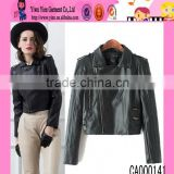 Fashion Sexy Ladies Short Autumn Coat Wholesale Top Quality OEM selling Leather Jacket Coat