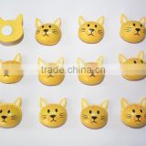 Wooden cat head shaped Sticker Children Kids Painted adhesive Back DIY Craft Home Party Holiday Decorations