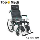 Rehabilitation Therapy Supplies TRW902GC-46 Powder Reclining High Back Foldable Wheelchair With Steel Frame