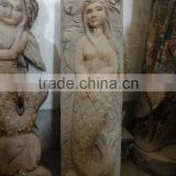 hand carved antique imitation wooden mermaid embossment relief decoration sculplture