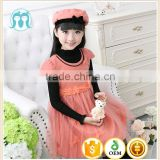 Autumn children clothing dress + hat set baby girl woolen one piece children wool dress