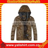Custom new fashion high quality brown hooded waterproof pu leather pictures of men coats