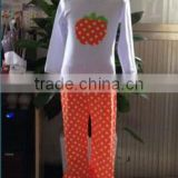 halloween outfit long sleeve white top and orange&white pants girls fall boutique outfit china import baby clothes