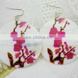New Fashion Hot Selling Plum Blossom Flower Print Women's Shell Earring