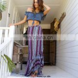 Customized high quality fashion new bohemian beach skirt split long retro national wind print stitching loose straps maxi skirt