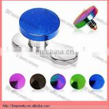Titanium Anodized Over 316L Surgical Steel Internally Threaded 4mm Round Flat Disc Dermal Anchor Top Piercing Body Jewelry