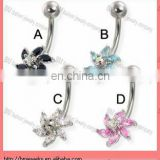 6-petal flower with raised center gem belly button ring fashion body piercing jewelry in stainless steel