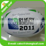 Standard size and weight machine sewn cured rubber rugby ball