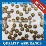 china hotfix copper metal brass manufacturer;2014 hot selling cheap copper hotfix;top quality hot fix copper convex