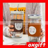 OXGIFT creative NICE TO MEET YOU drinking cups with straws/Clear Mason Jar Beverage Cups