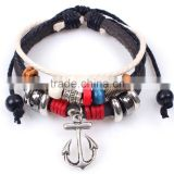 Leather anchor charm Bracelet