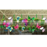 Shopping mall four seasons decoration atrium multi-color butterfly with green grass ball