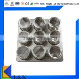 9 Pieces stainless steel magnetic spice jar set