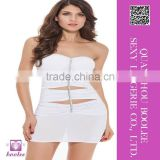 High fashion sexy clubwear white skirt wrapped chest for woman