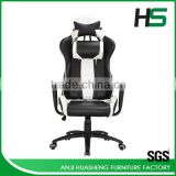 Professional design first class black and white PU leather chair for pc gaming
