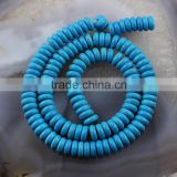 TB0425 Blue turquoise heishi beads,blue howlite rondelle beads                                                                                                         Supplier's Choice
