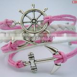 CB8172 pink wax rope anchor sliver leather bracelet wedding decoration