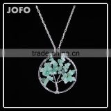 2016 Green Aventurine Natural Stone Tree Of Life Pendant Necklace Accessories for Women SMJ0174