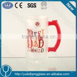 high quality machine made fancy frosting decal beer glass gift with handle and with PVC box