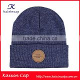 custom cotton and polyester fabric for beanie knitted winter caps with leather patch logo wholesale