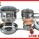 MSF 8pcs belly SS cookware set with copper bottom
